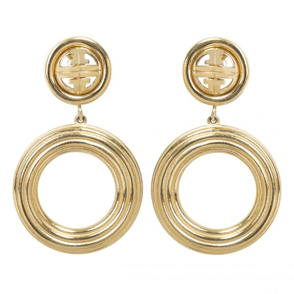 Vintage gold hoop logo earrings
