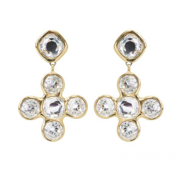 Vintage crystal cross dangle earrings