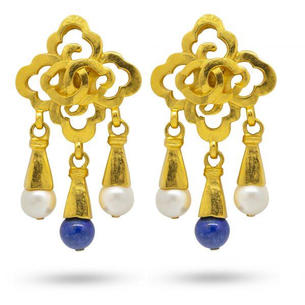 Vintage pearl drop Gripoix earrings