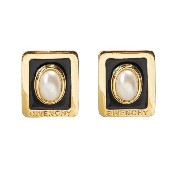 Vintage pearl logo earrings