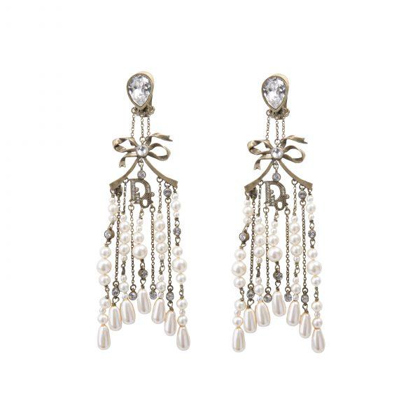 Vintage pearl drops large chandelier earrings