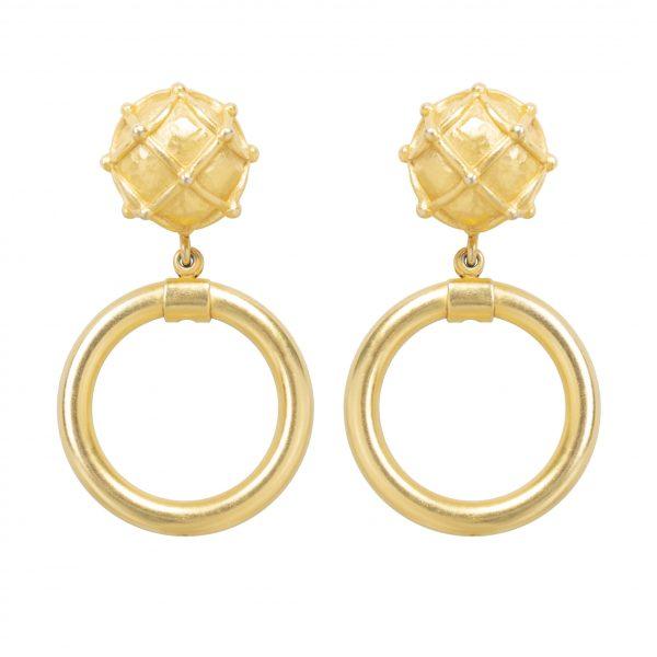 Vintage gold-embossed hoop earrings
