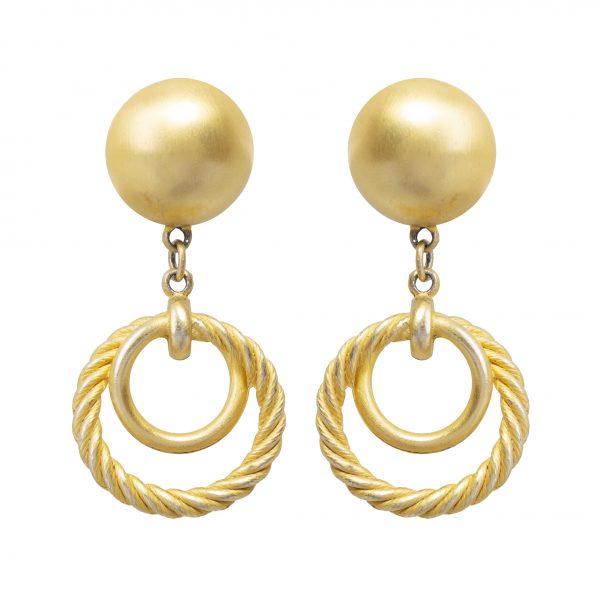 Vintage gold double hoop earrings