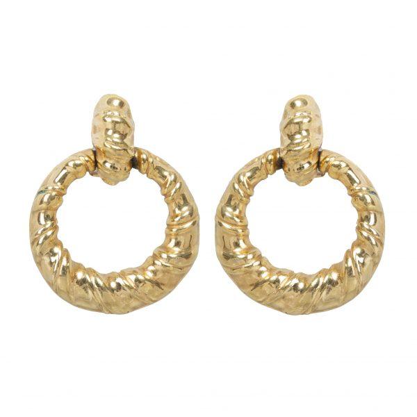 Vintage gold ribbon hoop earrings