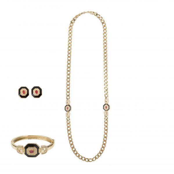 Vintage art deco long necklace trio set