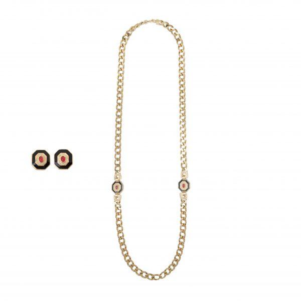Vintage art deco long necklace earrings set