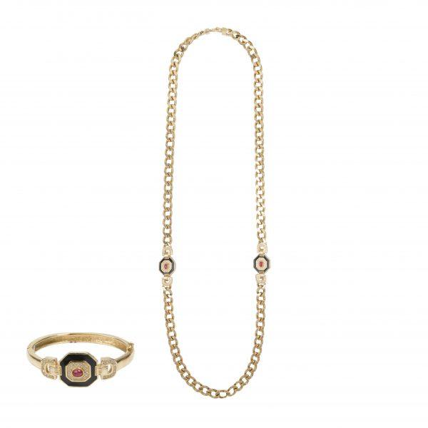 Vintage art deco long necklace bracelet set