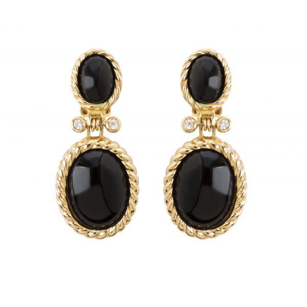 Vintage black stone dangle earrings