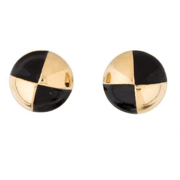 Vintage checkered round earrings