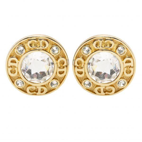 Vintage crystal monogram earrings