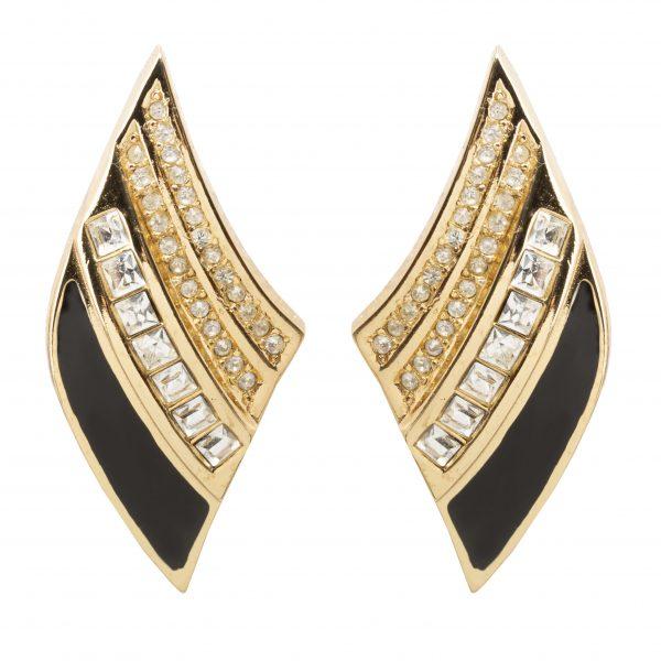 Vintage black enamel diamond shaped earrings