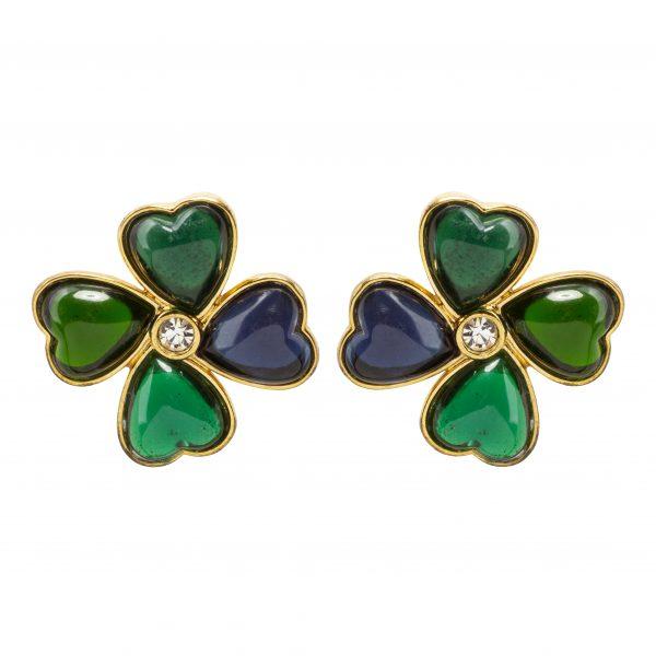 Vintage green stone clover earrings