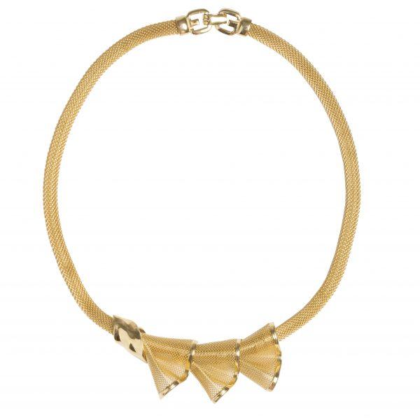 Vintage gold crochet bow necklace