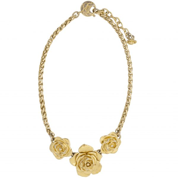 Vintage camellia gold necklace