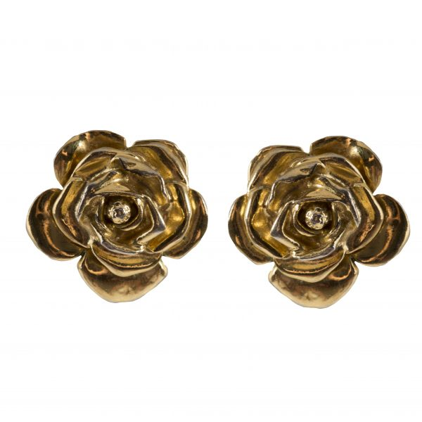 Vintage camellia gold earrings
