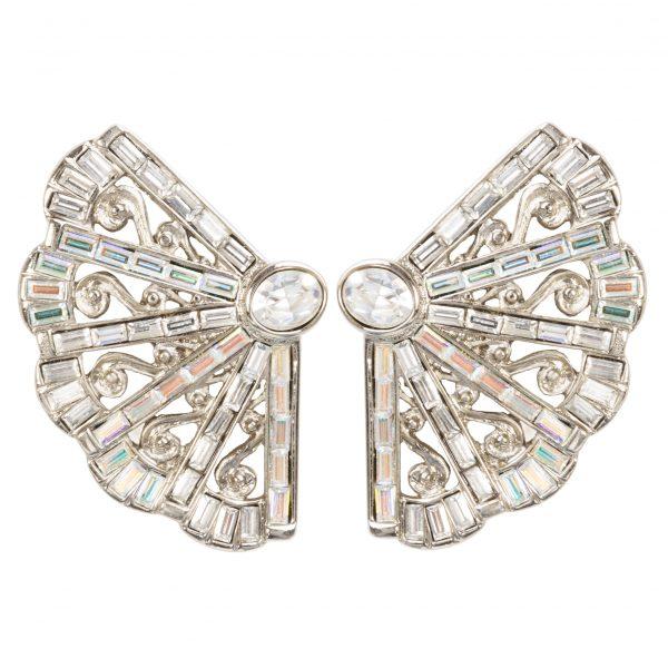 Vintage fan shaped crystal earrings