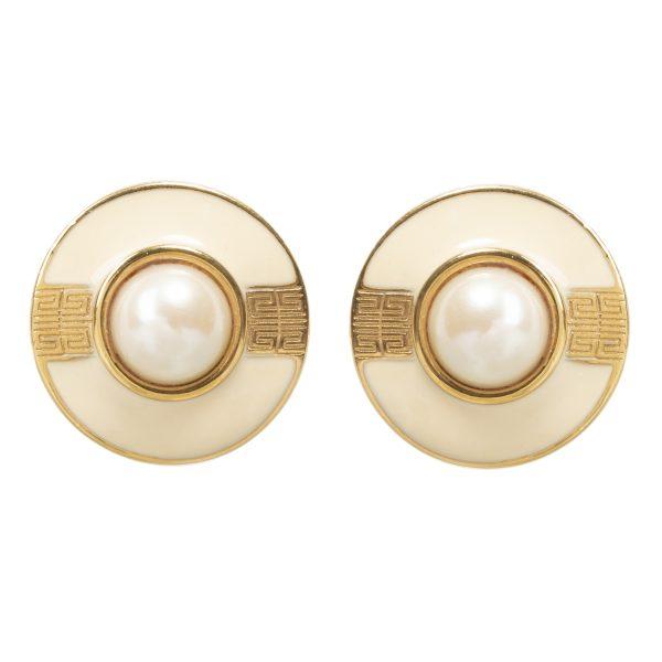 Vintage round pearl centre beige earrings