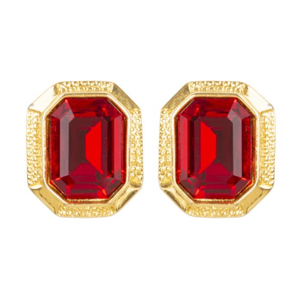 Vintage gold & red runway earrings