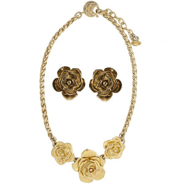 Vintage triple camellia gold set